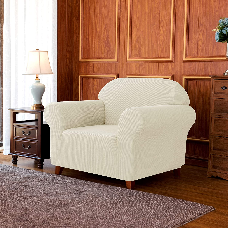 subrtex 1 Pieza Funda Sofa Elasticas Fundas de Sofa Antideslizante Cubierta Forros para Sofas Anti Arañazos Ajustable Protector (1 Plaza, Marfil)