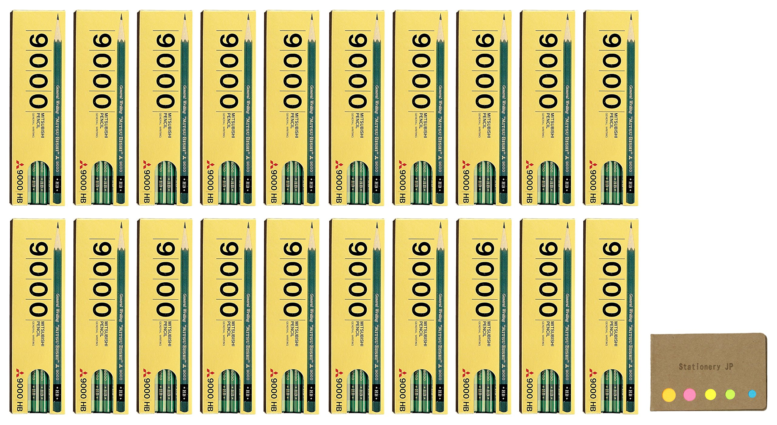 Uni Mitsubishi 9000 Pencil, HB, 20-pack/total 240 pcs, Sticky Notes Value Set by Stationery JP (Image #1)