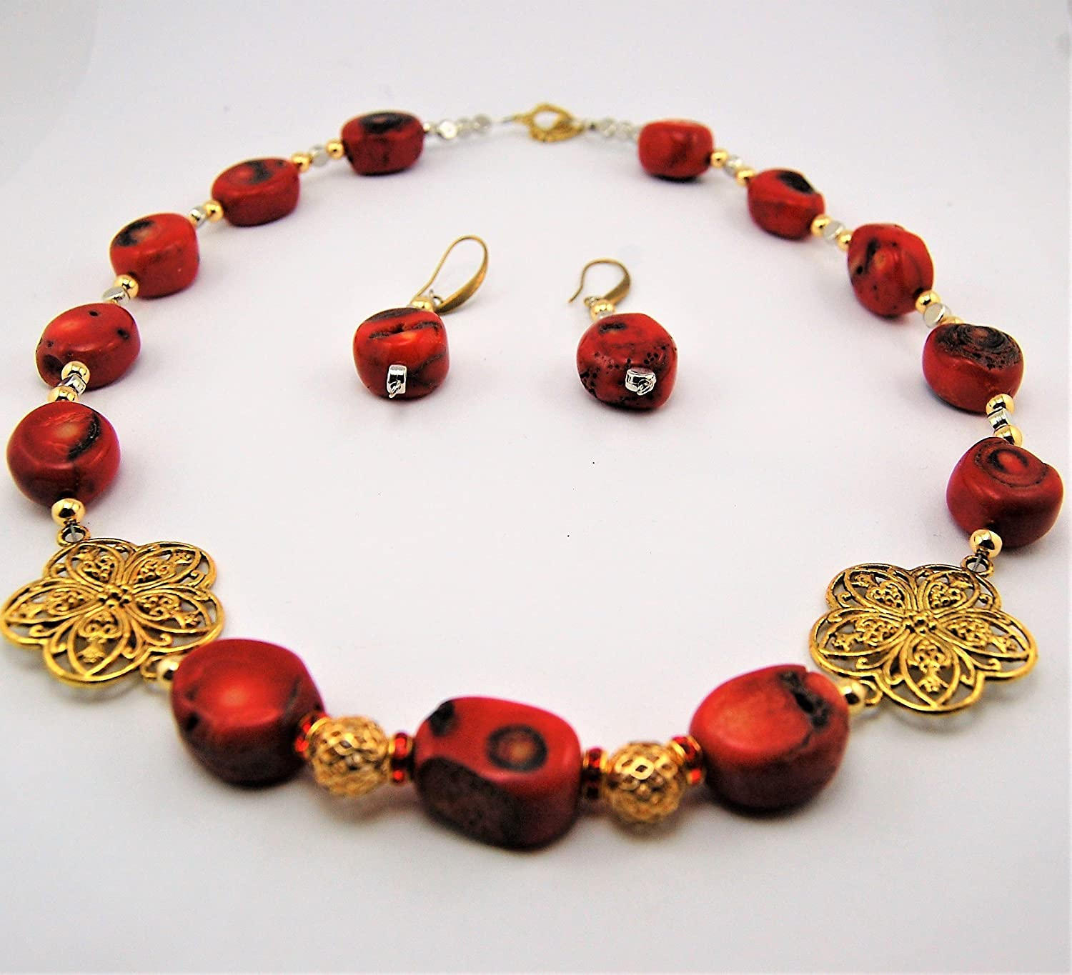 Natural Red Coral Necklace-Earring set