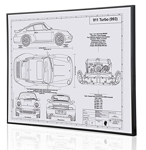 Amazon.com: 933 911 Turbo Blueprint Artwork-Laser Marked & Personalized-The Perfect Porsche Gifts: Handmade