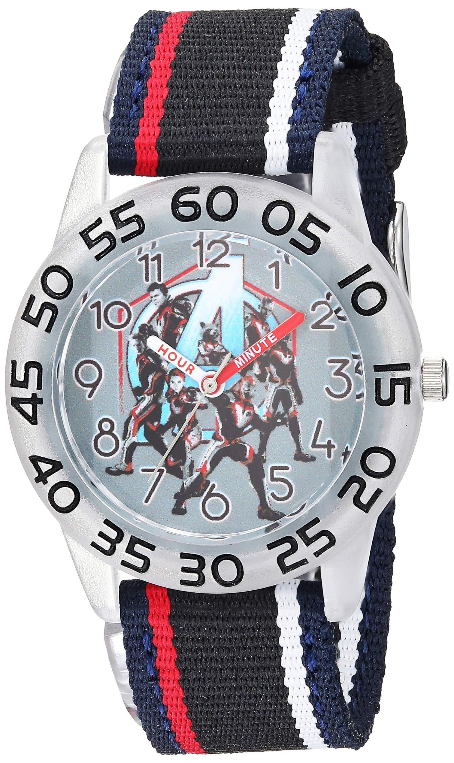 Marvel Boys Avengers Analog-Quartz Watch with Nylon Strap, Black, 16.4 (Model: WMA000339)
