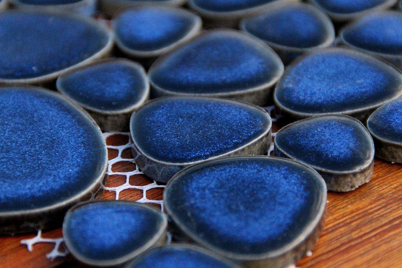 Mosaik Keramik Fliesen Kiesel Kieselmosaik blau hochglänzend ...