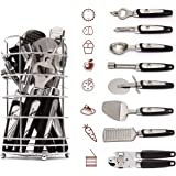 Kitchen Gadget Tool Set by BEESTAR - 8 Piece Stainless Steel Kitchen Utensil Kit With Basket: Bottle Opener + Ice-cream Spoon +Grater+ Peeler + Pizza Knife+ Can Opener + Cheese Slicer + Apple Corer
