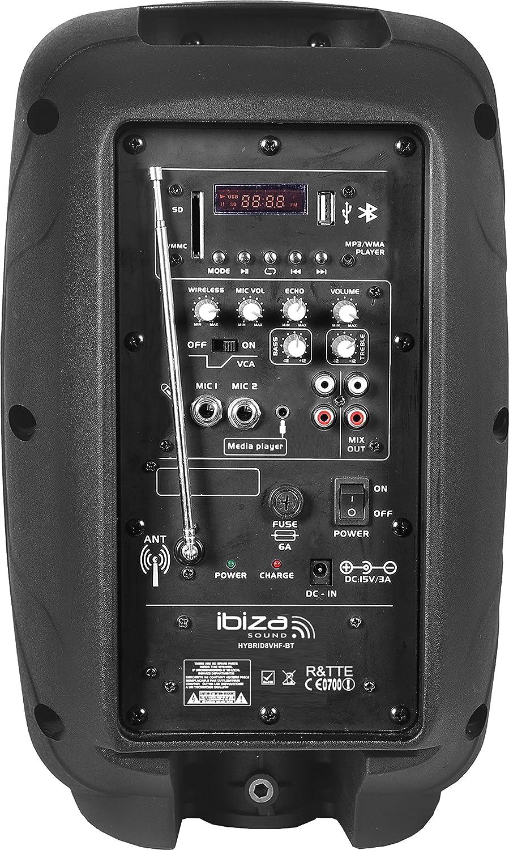 Ibiza HYBRID10VHF-BT Cassa Karaoke Portatile Diffusore Attivo Con Bluetooth (2 x 300 Watt RMS, Porta USB SD MP3, Effetto Echo, Batteria Integrata, Equalizzatore, Microfono, Telecomando) Nero