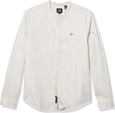 Dockers Camisa de manga larga con botones y cuello de banda ...