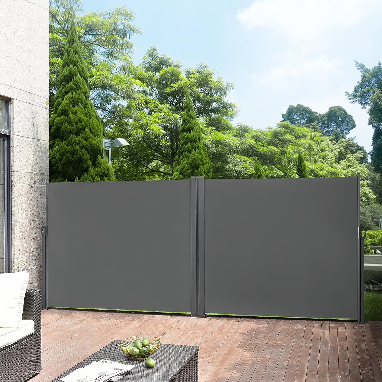 Pro Tec Doppelte Seitenmarkise 2 X 300 X 180 Cm Grau Sichtschutz