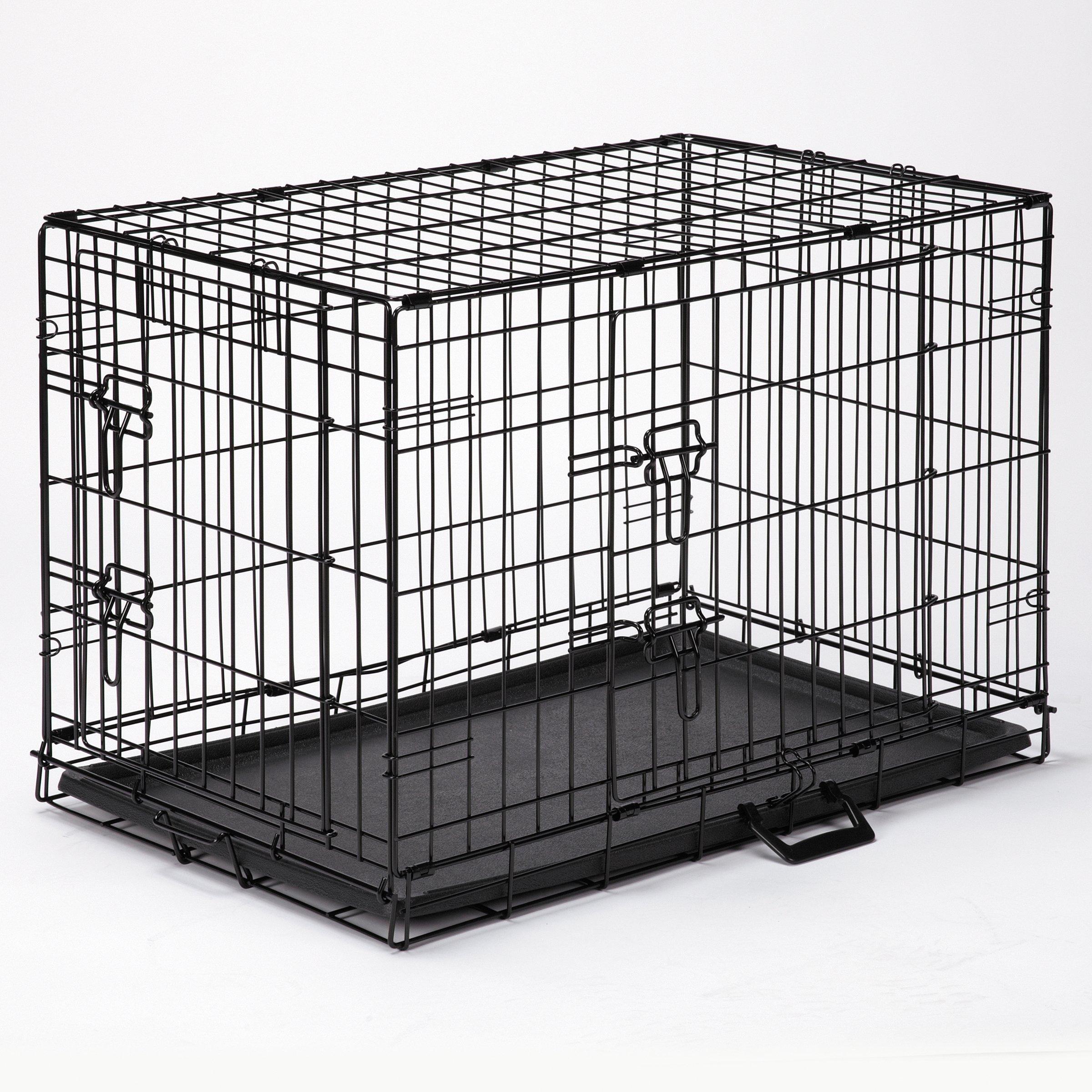 Easy Dog Crates - Black; X-Small, 18''L x 12½''W x 15''H, Small, 24''L x 17''W x 20''H, Med., 30''L x 19''W x 22''H; Med./Large, 36''L x 22½''W x 25''H; Large, 42''L x 28''W x 31''H; X-Large, 48''L x 30''W x 33''H