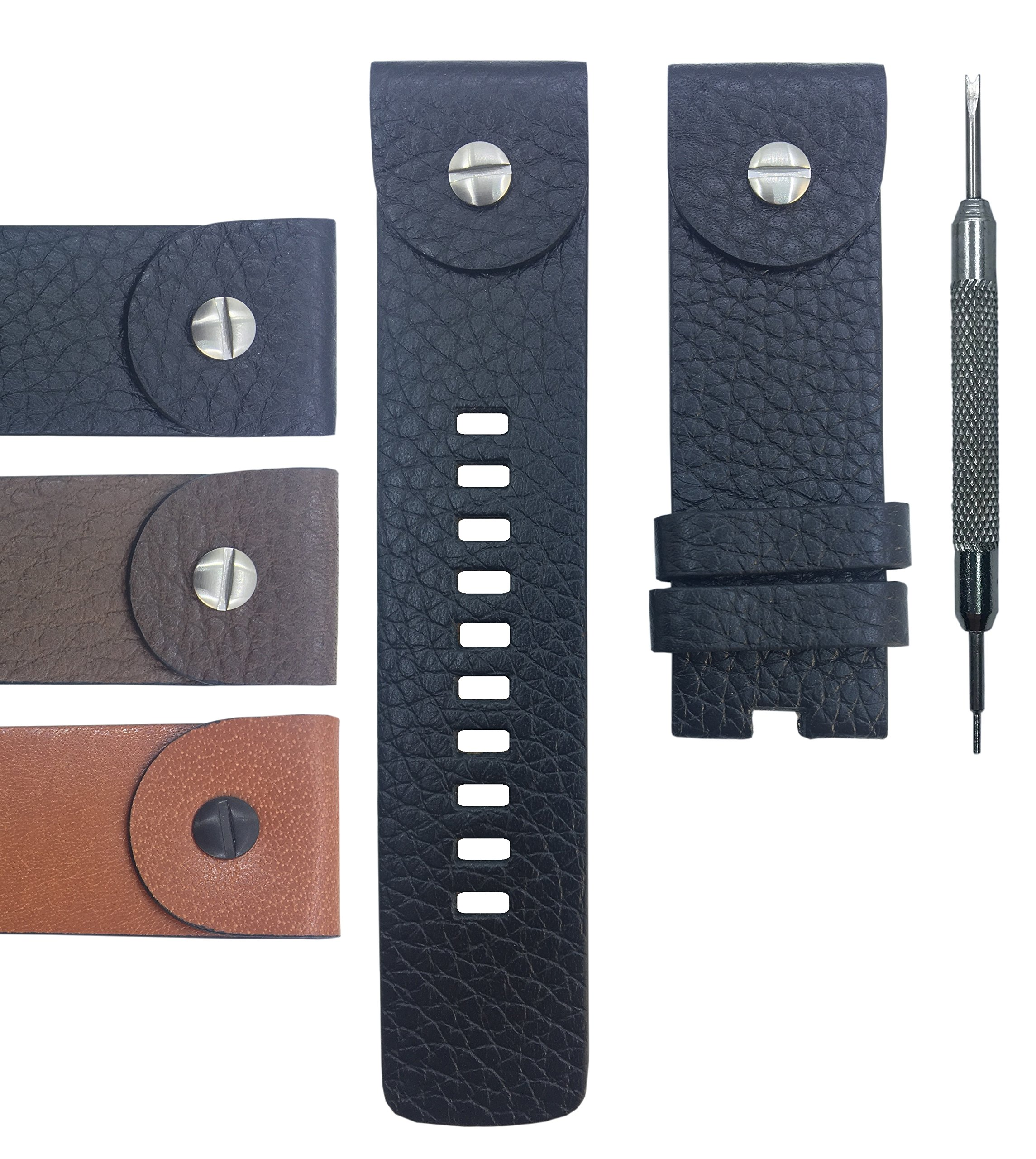 24mm Genuine Leather Watch Band Strap For DZ7256 DZ7267 DZ7291 DZ7257 DZ7270 DZ7293 DZ1578 DZ7363 DZ7264 DZ7258 DZ1225 - Free Spring Bar Tool (Black)