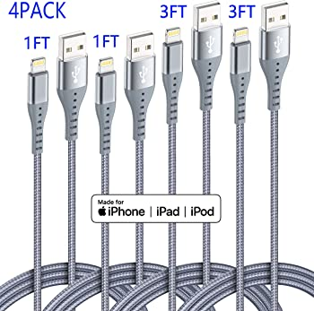 XnewCable 4-Pack MFi Certified Nylon Braided Lightning Cable