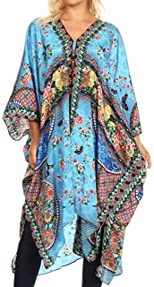 87aefbb8583 Sakkas Alvita Women s V Neck Beach Dress Top Caftan Cover up with  Rhinestones