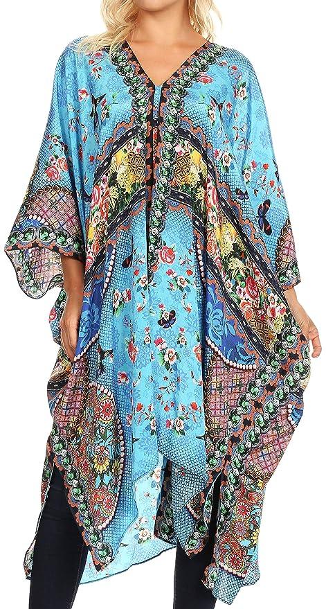 f1009b04acd91 Sakkas 1824 - Alvita Women's V Neck Beach Dress Top Caftan Cover up with  Rhinestones - AM107-Multi - OS at Amazon Women's Clothing store:
