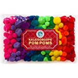 Tin Roof Crafts Assorted Hot Rainbow Colored Pom Poms for DIY Hobby Supplies