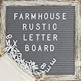 Shabby Chic Changeable Felt Letter Board Set with 10 x 10 inch Farmhouse Rustic Wood Frame Gray Felt 370 Letters Including Emojis Wall Hook Canvas Bag and Scissors