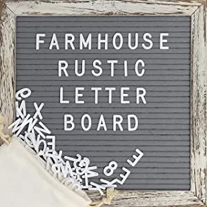 Felt Letter Board Set with 10x10 Inch, Shabby Chic Farmhouse Rustic Wood Frame, Gray Felt, Changeable Message Board with 374 Precut White Letters, Emojis, Wall Hook, Canvas Bag, Stand