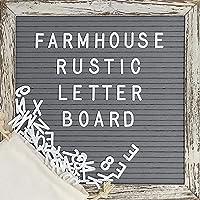 Felt Letter Board with 10x10 Inch Rustic Wood Frame, Script Words, Precut Letters, Picture Hangers | Farmhouse Wall Decor | Shabby Chic Vintage Decor | Grey Felt Message Board
