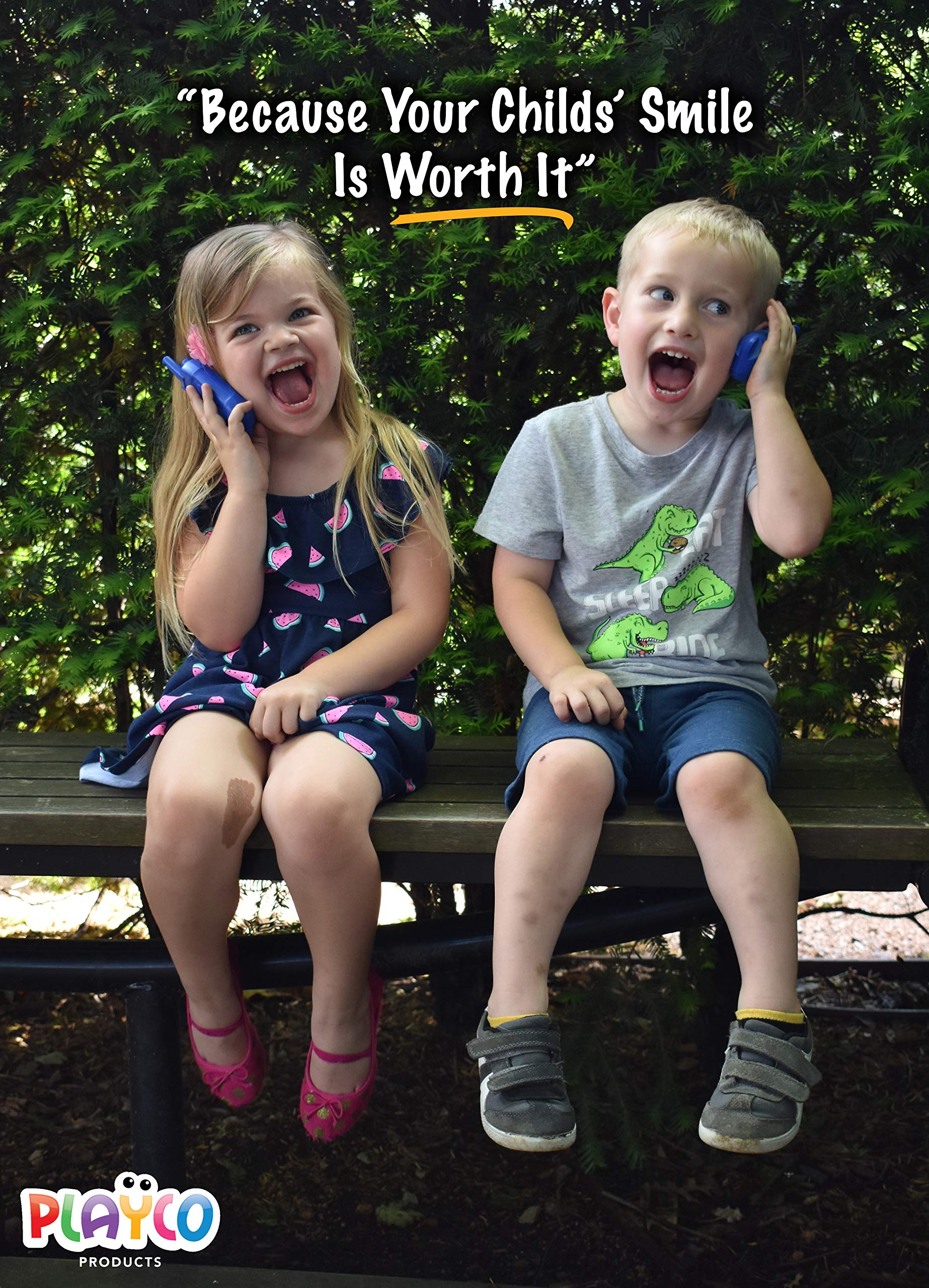 Playco Walkie Talkies and Binoculars for Kids - 2 Mile Range, Crystal Clear Sound, 8X21 Optical Lens by Playco (Image #4)