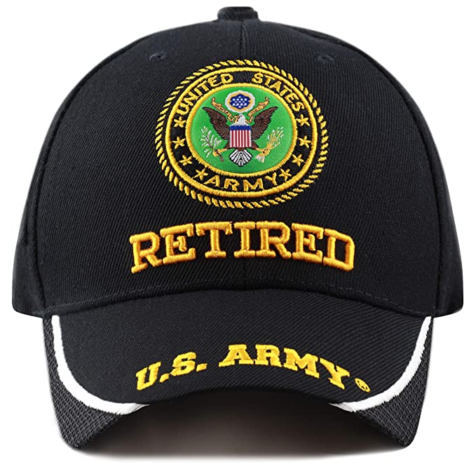 e3c34901dfd THE HAT DEPOT Military Licensed 3D Embroidered Retired Cap Hat (Black-Army- Retired