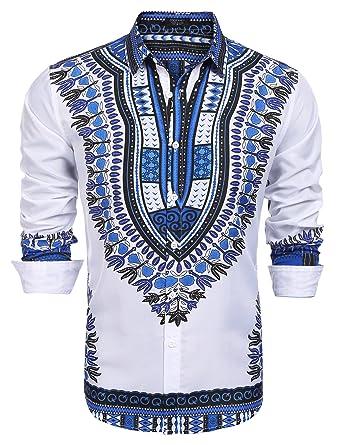 7c8f8f5a6c29 COOFANDY Men s Fashion African Dashiki Floral Printed Long Sleeve Shirts