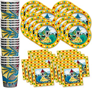 Mythical Dragon Birthday Party Supplies Set Plates Napkins Cups Tableware Kit for 16