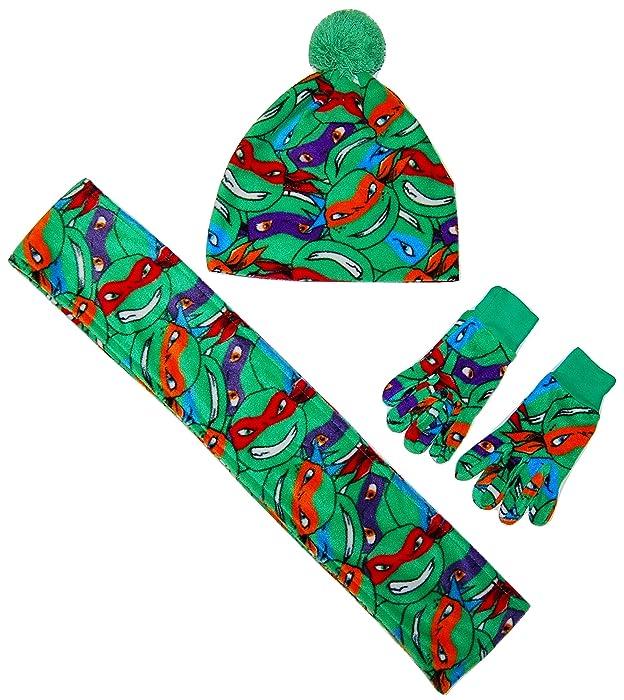 Nickelodeon Boys Teenage Ninja Mutant Turtles Hat Scarf Gloves Set