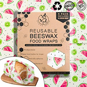 Hygge Earth - Reusable Beeswax Food Wraps | 4 Pack - S, M & L (Incl XL Bread Wrap) Reusable Organic Eco Friendly Natural Storage Alternative to Plastic. Wraps with Jojoba Oil