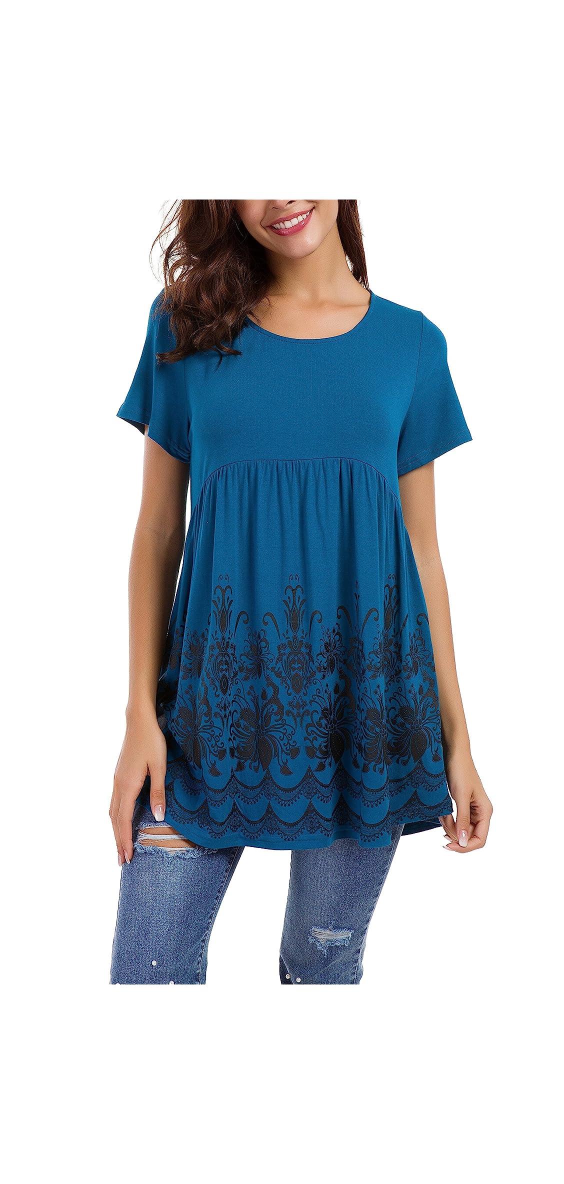 Women's Short Sleeve/sleeveless Floral Printed Flare