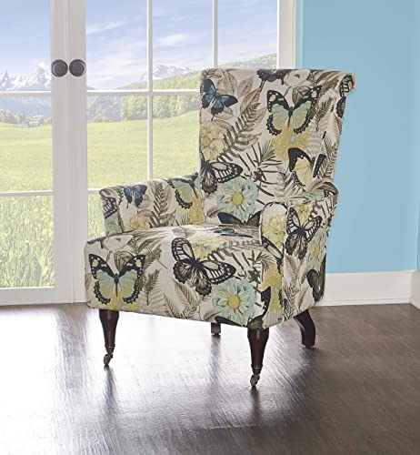 Linon Junnell Wood Upholstered Botanical Print Accent Chair in Green
