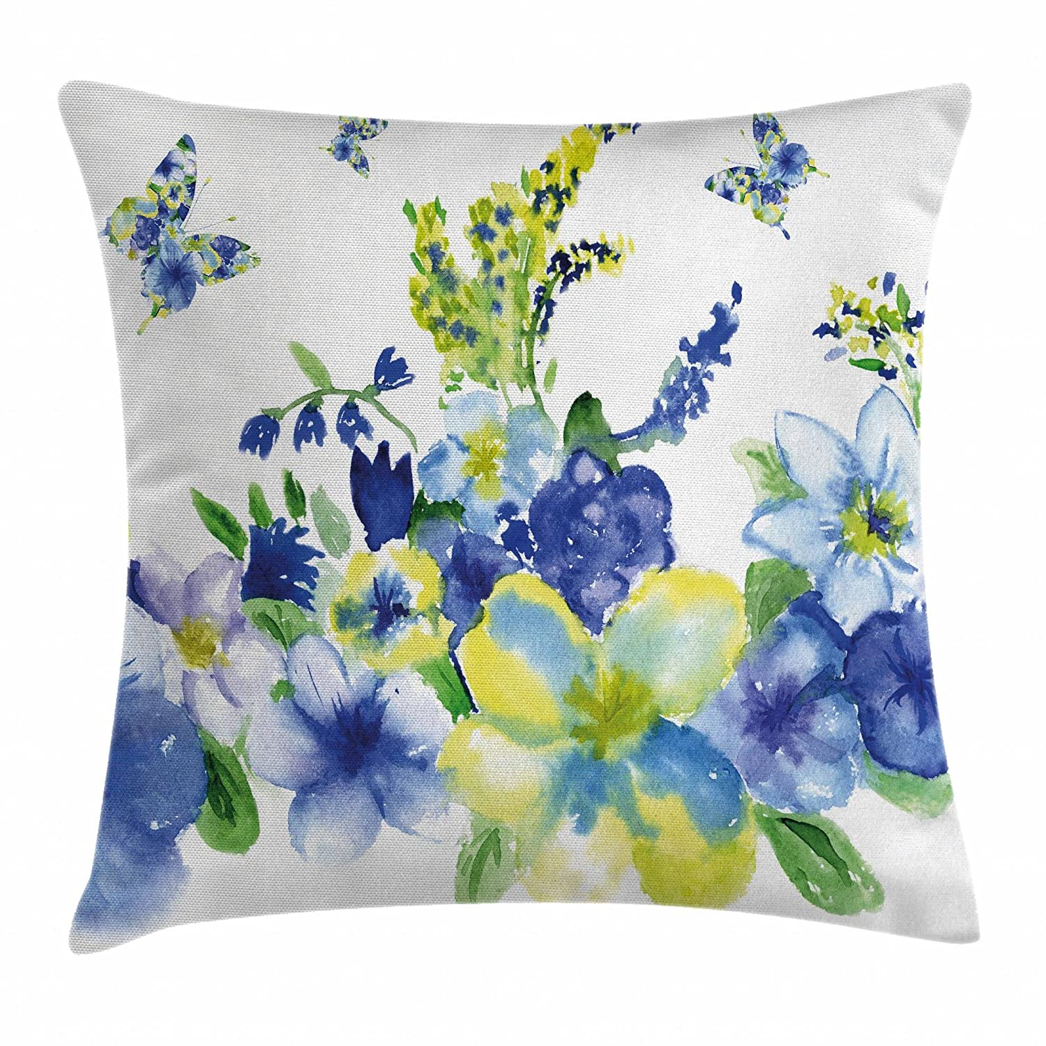 "Ambesonne Yellow and Blue Throw Pillow Cushion Cover, Spring Flower Watercolor Flourishing Vibrant Blooms Design, Decorative Square Accent Pillow Case, 16"" X 16"", Royal Blue"