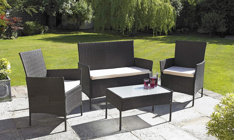 divano e sedia Set di mobili da giardino patio o giardino d/'inverno con tavolo Neo/® in rattan 4 pezzi disponibile in nero o marrone 102cm x 60cm x 82cm Nero