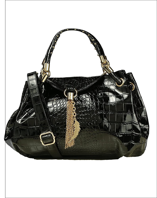 Authentic Arcadia Alligator-Style Satchel Handbag w/ Feather Metal Fringe and Adj. Shoulder Strap