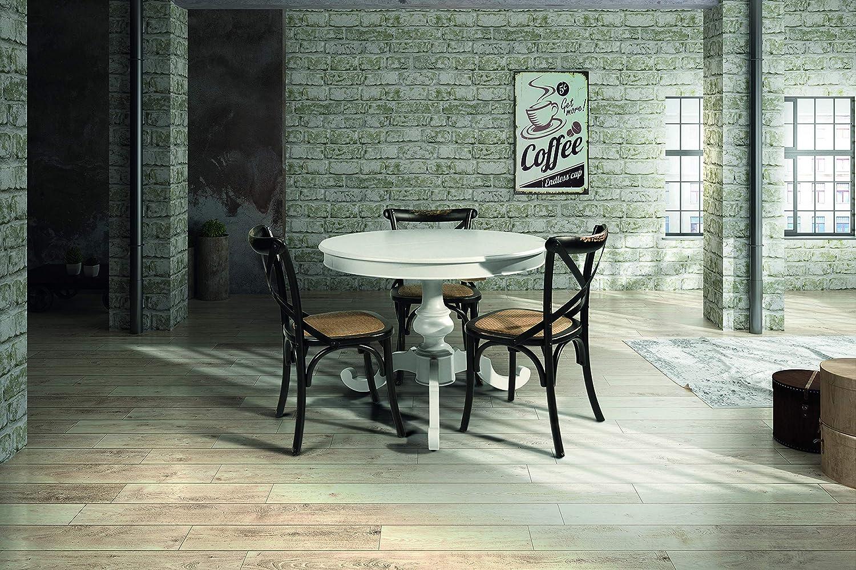 Bianco Legno rotonda 100x100x75 cm Fashion Commerce FC1468 Tavolo Allungabile