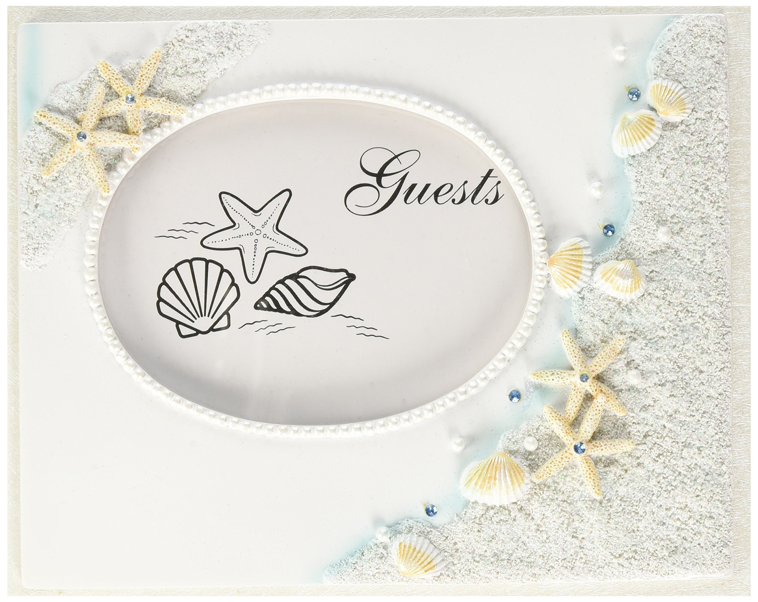Fashioncraft Finishing Touches Collection Beach Themed Wedding Guest Book, 9.5'' Wide X 7.5'' X 2'', White, Blue, Coral