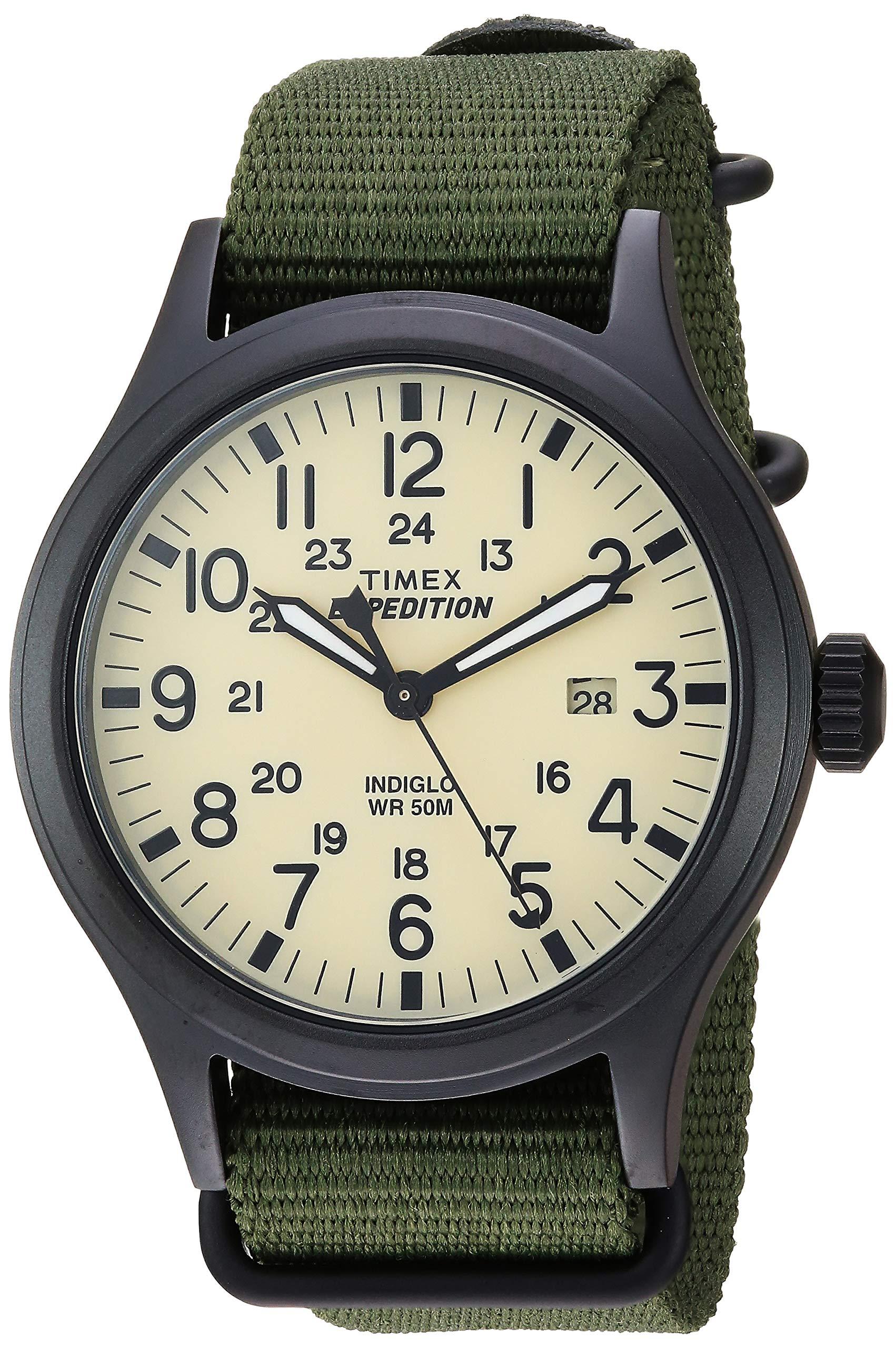 Timex Men's TW4B15500 Expedition Scout 40 Green/Black/Cream Nylon Slip-Thru Strap Watch by Timex