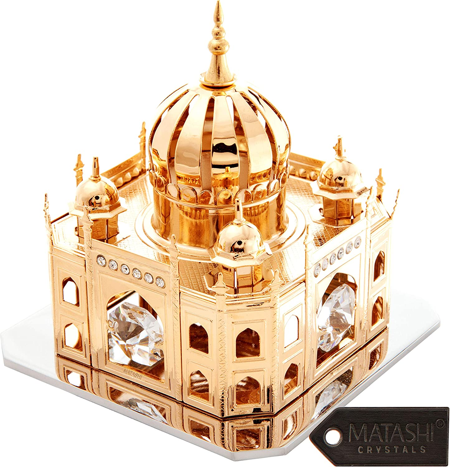 Matashi 24K Gold Plated Mosque Ornament with Crystals Tabletop Centerpiece Showpiece - Great Gift for Anniversary Mother's Day Birthday Christmas Decor