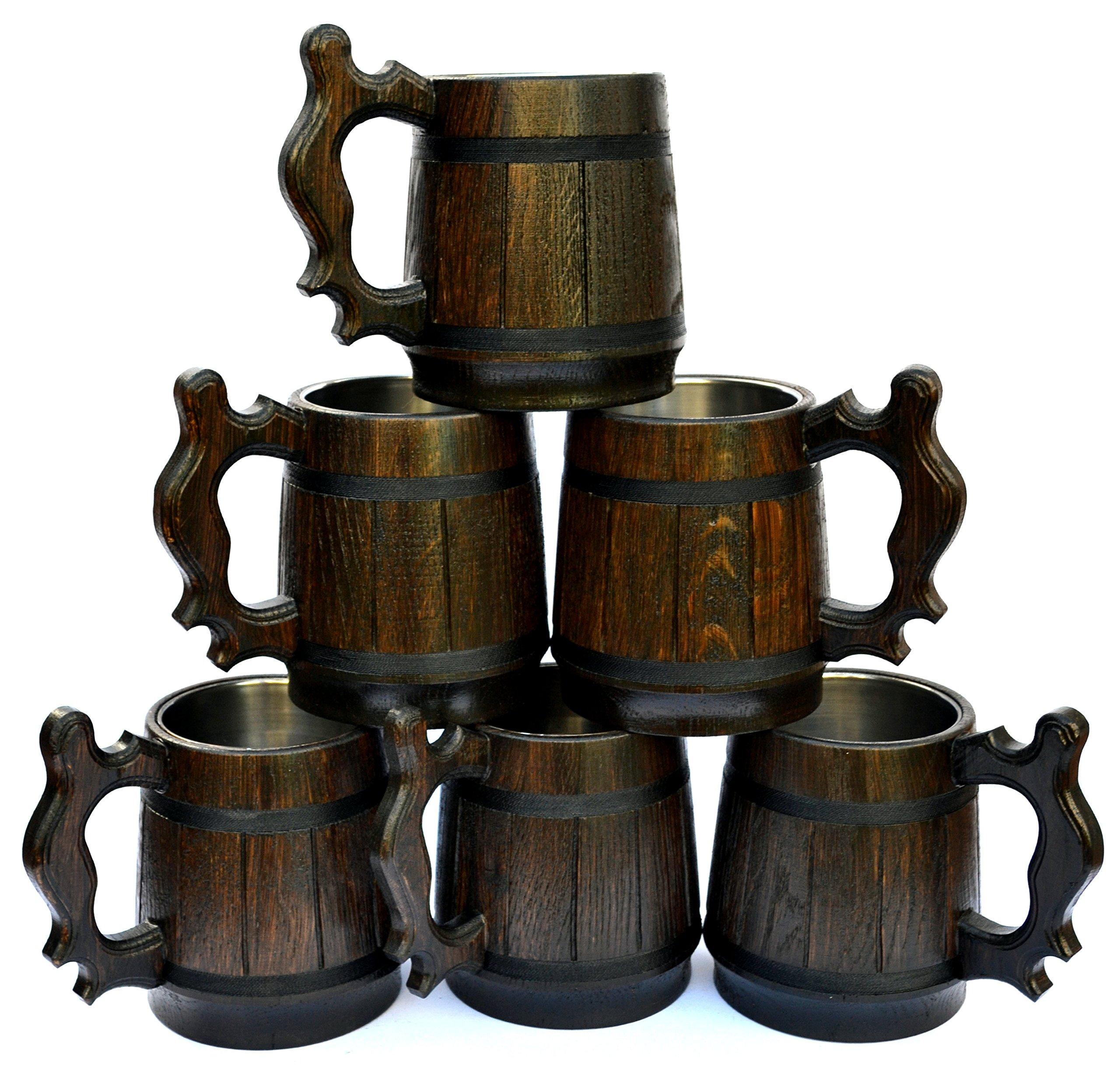 Handmade Beer Mug Set of 6 Oak Wood Stainless Steel Cup Gift Natural Eco-Friendly 0.6L 20oz Retro Brown