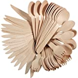 """Modetro Premium Disposable BPA FREE Cutlery Set - 200 Piece with 100 Forks, 50 Spoons, and 50 Knives - Plastic Free Biodegradable Compostable 6"""" Wooden Utensils - Go Green Camping and Party Supplies"""