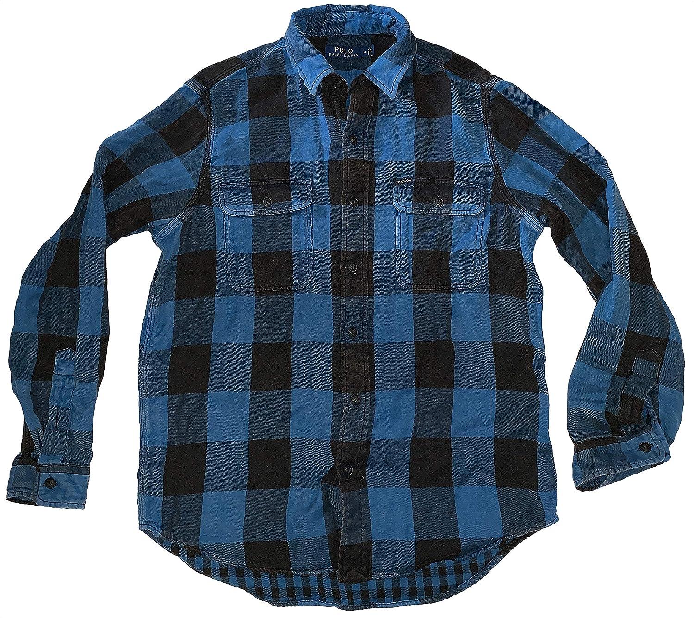 Lauren Double Plaid Long Sleeve Shirt Ralph Men's Flannel Polo Faced lJ31TFKc