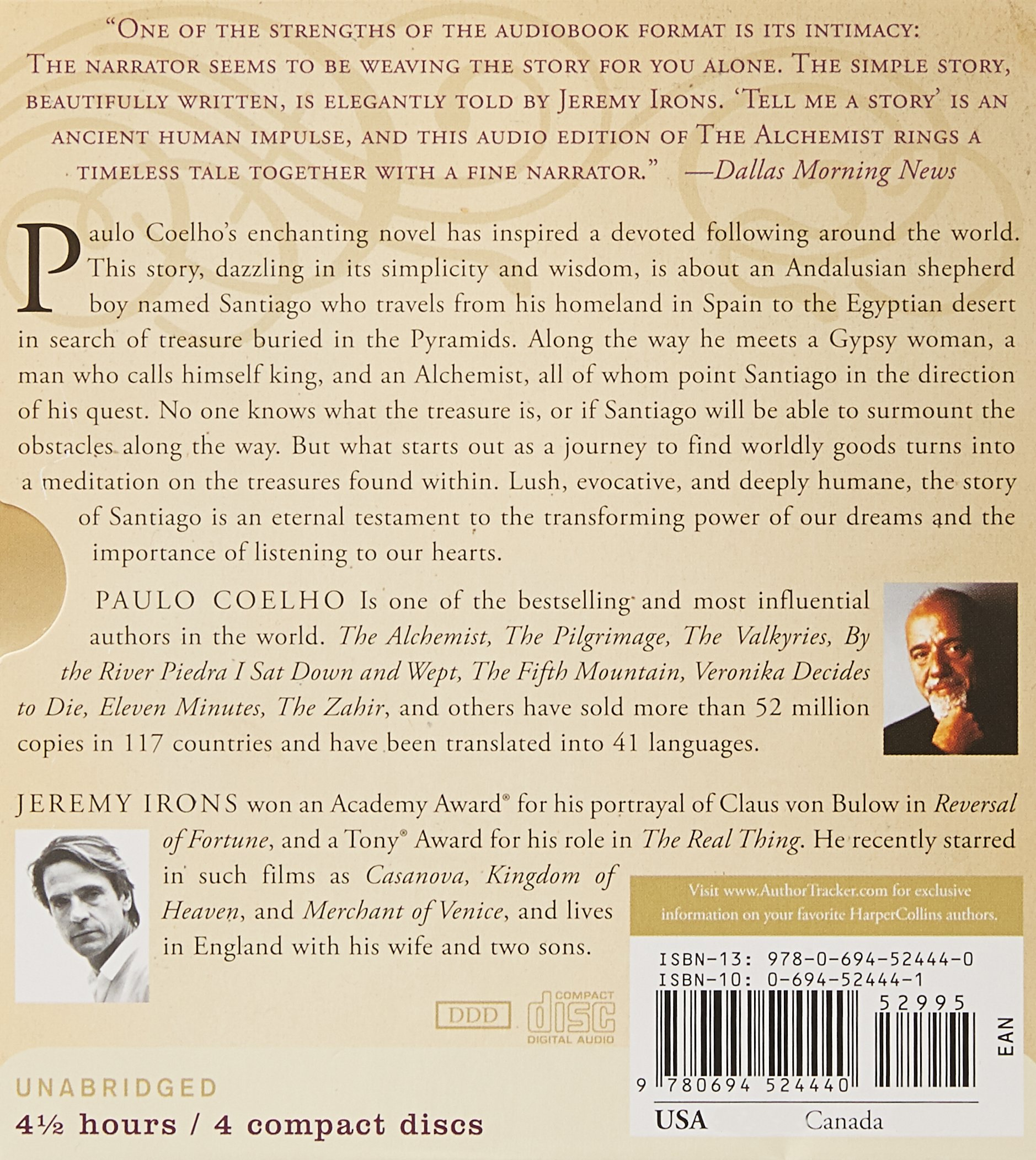 the alchemist cd paulo coelho jeremy irons 9780694524440 the alchemist cd paulo coelho jeremy irons 9780694524440 com books