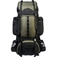 AmazonBasics Internal Frame Hiking Backpack with Rainfly (75 L, Green)