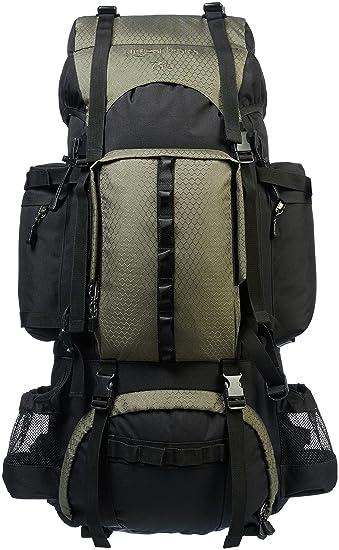 a17bc519d2 AmazonBasics - Zaino da escursionismo con telaio interno e cerniera  antipioggia, 75 L, Verde: Amazon.it: Sport e tempo libero