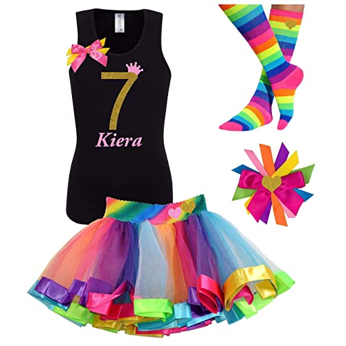Amazon 7th Birthday Shirt Rainbow Tutu Girls Party Outfit 4PC Gift Set Personalized Name Age 7 Handmade