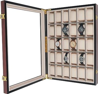 Relojes Caja de cristal para 30 relojes de pared (Madera con ...