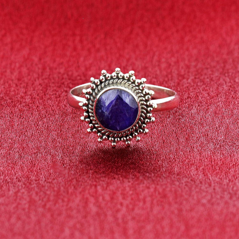 Gem Avenue 925 Sterling Silver Lapis Gemstone Bali Design Retro Style Womens Ring