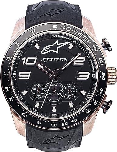 Alpinestars Tech Watch Chrono Watch Rose Gold Silicone Strap Wrist Watch Uhren