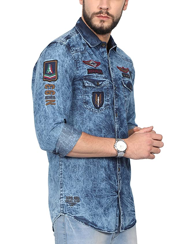 5fd82aa0a8a NORTH REPUBLIC Men s Printed Denim Full Sleeves Slim Fit Casual Shirt (Denim  Blue   Large)  Amazon.in  Clothing   Accessories