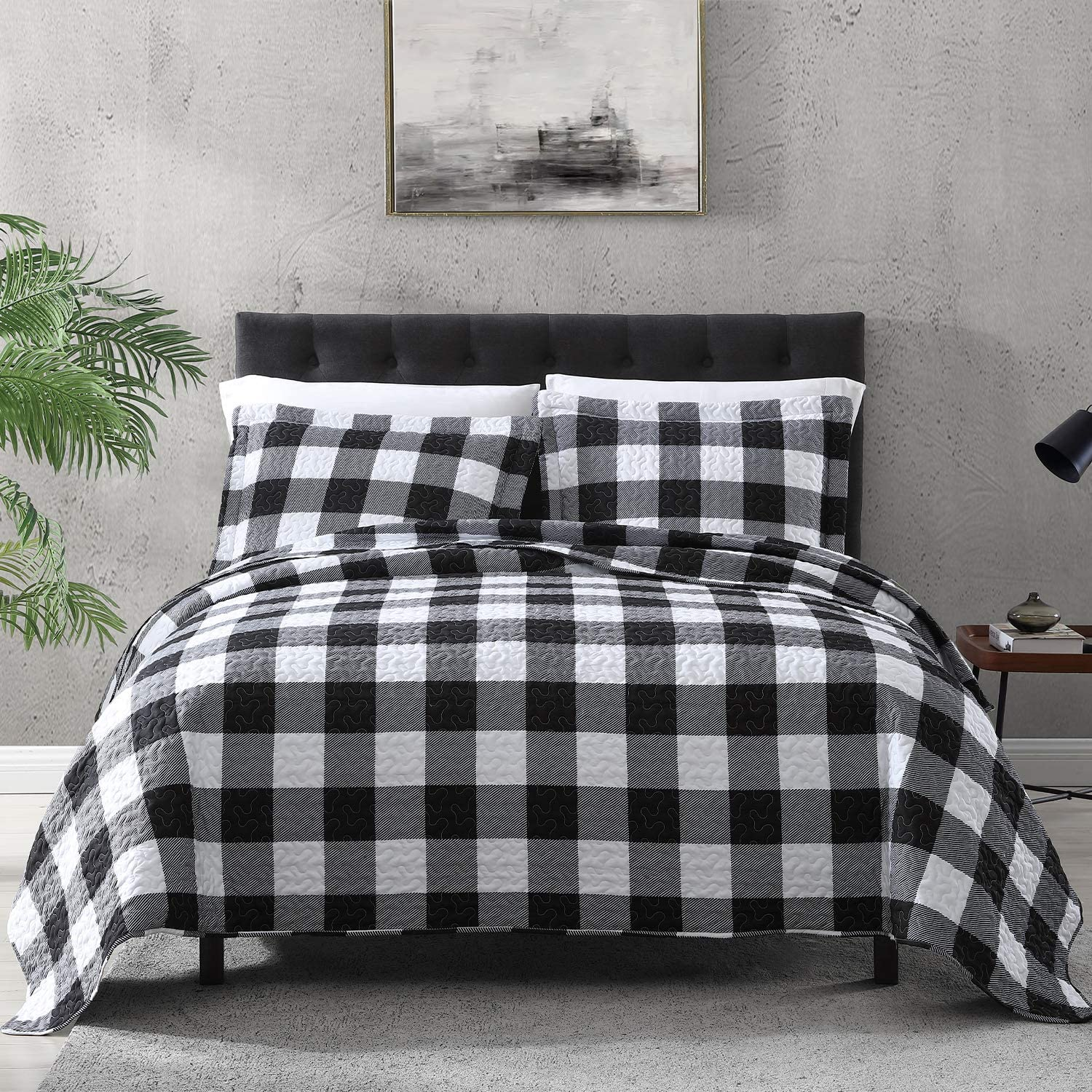 EXQ Home Quilt Set Twin Size 2 Piece,Lightweight Microfiber Coverlet Modern Style Black and White Squares Pattern Bedspread Set(1 Quilt,1 Pillow Sham)
