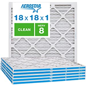 "Aerostar Clean House 18x18x1 MERV 8 Pleated Air Filter, Made in the USA, (Actual Size: 17 3/4""x17 3/4""x3/4""), 6-Pack,White"