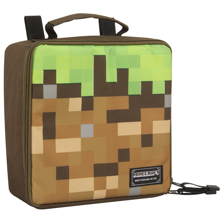 Taglia unica Borsa porta pranzo ufficiale blocco derba Bambini Minecraft Verde//Marrone