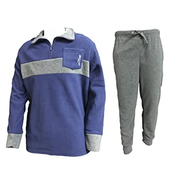 pigiama uomo lungo in pile mezza zip IRGE nuova collezione art. MI271 (blu, L)