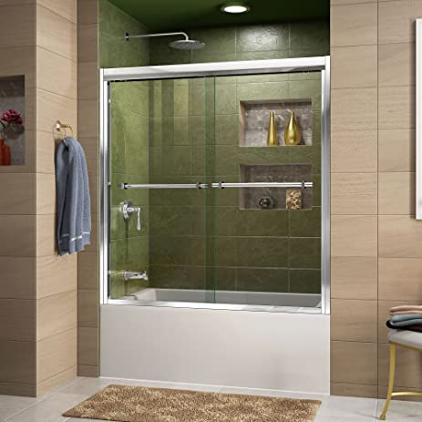 DreamLine Duet 56-59 in. Width, Frameless Bypass Sliding Tub Door, 5 ...